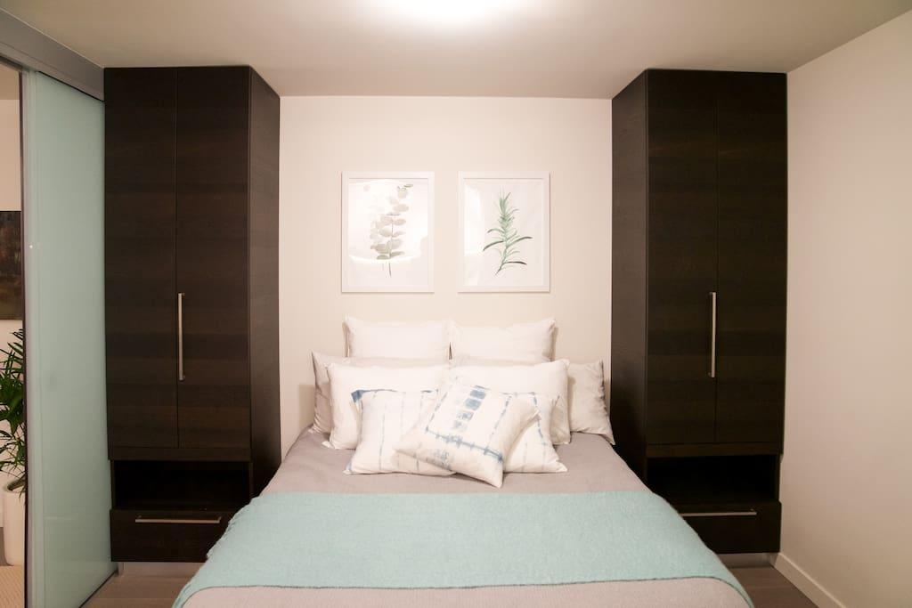 cozy bedroom lots of storage