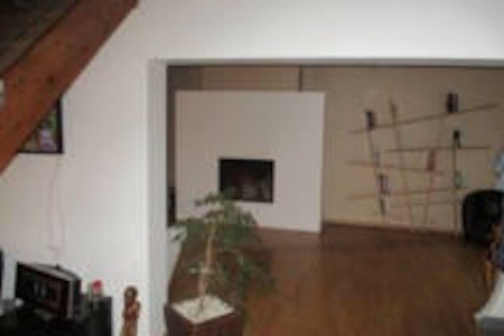 Salon séjour ouvert, en parquet avec cheminée