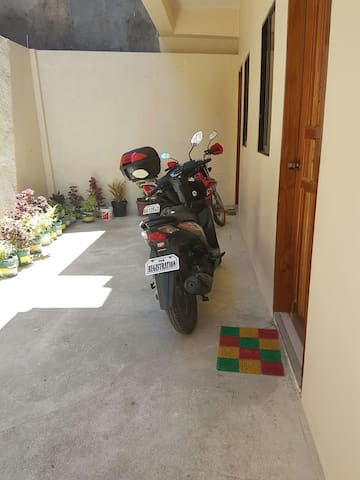 The Hallway with available motor bike to roam around Bohol