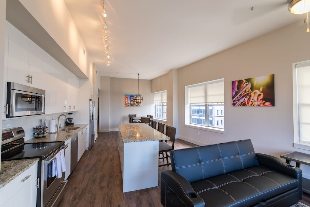 This was perfect for our family. Since we were uncertain about area, we felt secure there! Walked to Bourbon Street and felt safe to walk there. The condo is beautiful!!-Michele