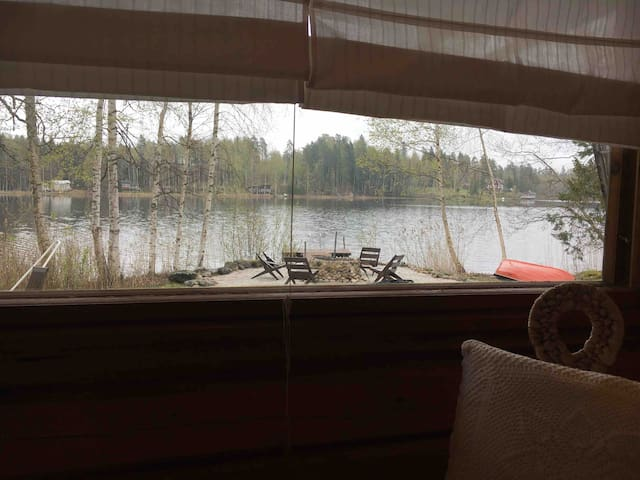 The view from the sauna building to the lake.