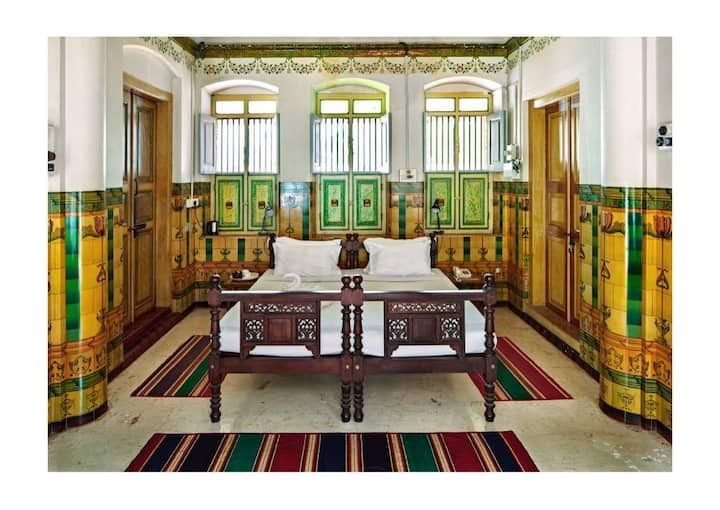 Heritage Room in a Chettinadu Mansion