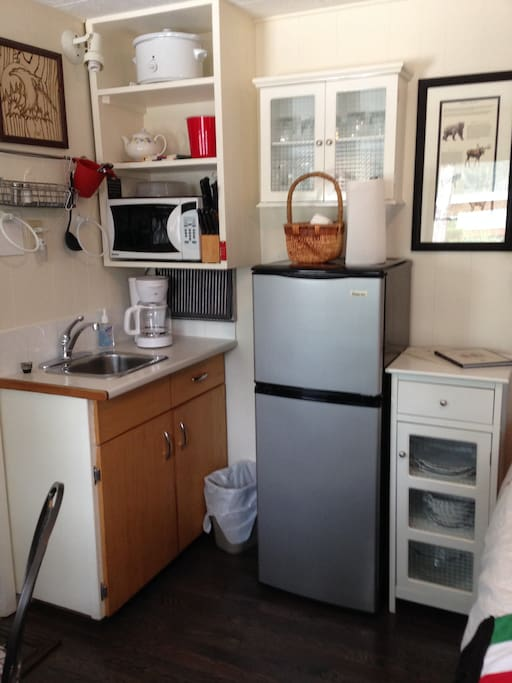 Kitchenette in suite includes fridge, microwave, hot plates, toaster, coffee maker and kettle