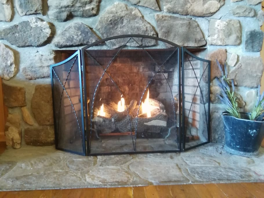 Cozy fireplace with gas log set and remote. One click and you have a romantic fire.
