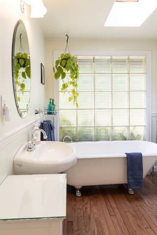Soak in the tub after a long walk on nearby forest trails or take a shower in the walk in shower.