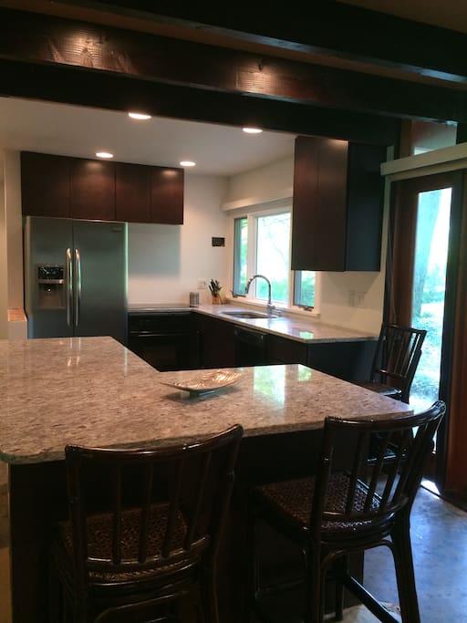Open kitchen, modern with granite
