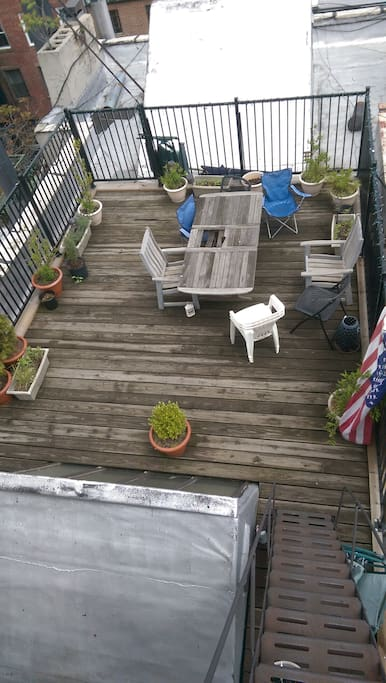 Private roof deck with views of Empire State Building and Freedom Tower