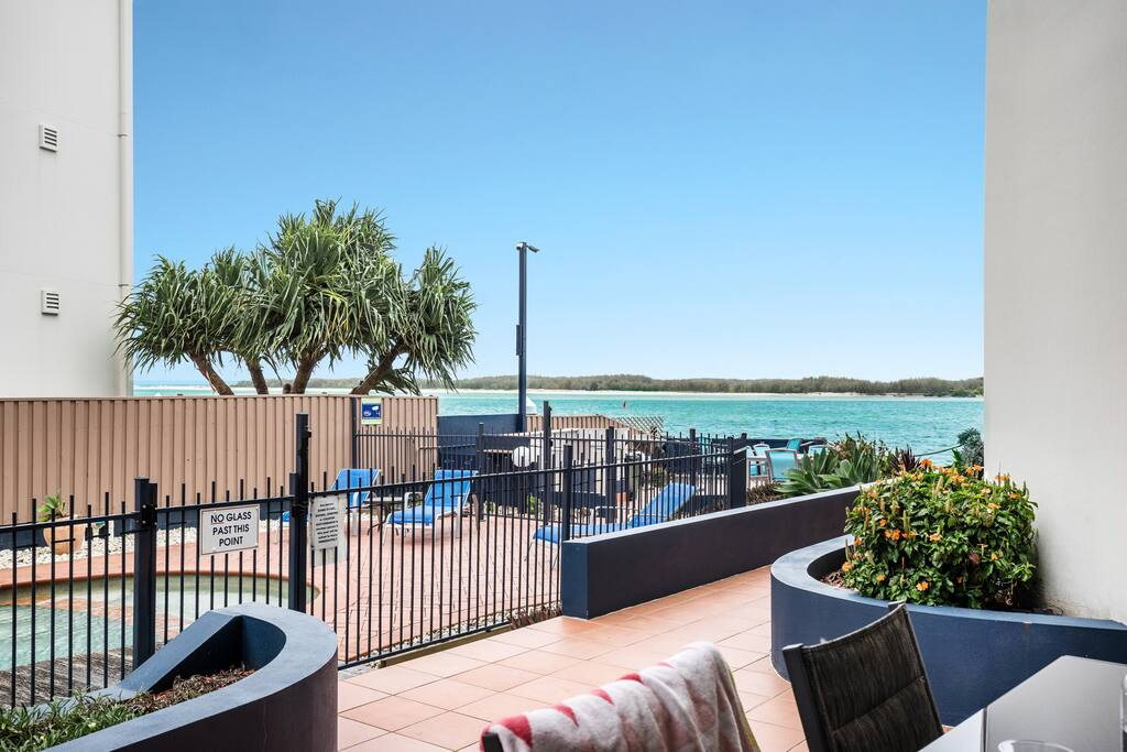 Pool-side patio with fabulous water views over Bribie Island