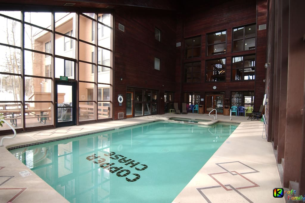 Large pool/Jacuzzi area adjacent to fitness center, male/female locker rooms each with dry saunas.