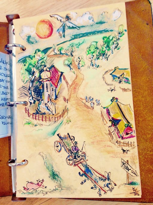 This lovely drawing and accompanying note were left in the Guests Book by artist from Germany who got inspired by Angels Sanctuary magical settings!