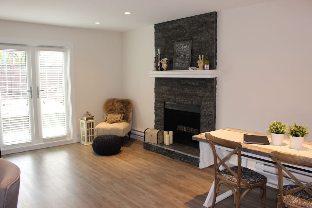 Fireplace with reading chair