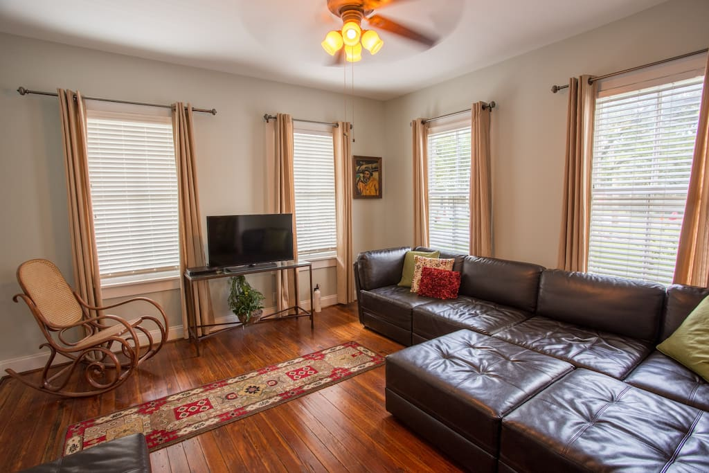 Living (1st Floor)  Large sectional couches.  Sleeps 2 adults or 3 children easily.