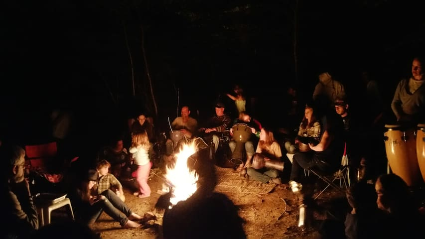 Fire/Drum Circle by the creek