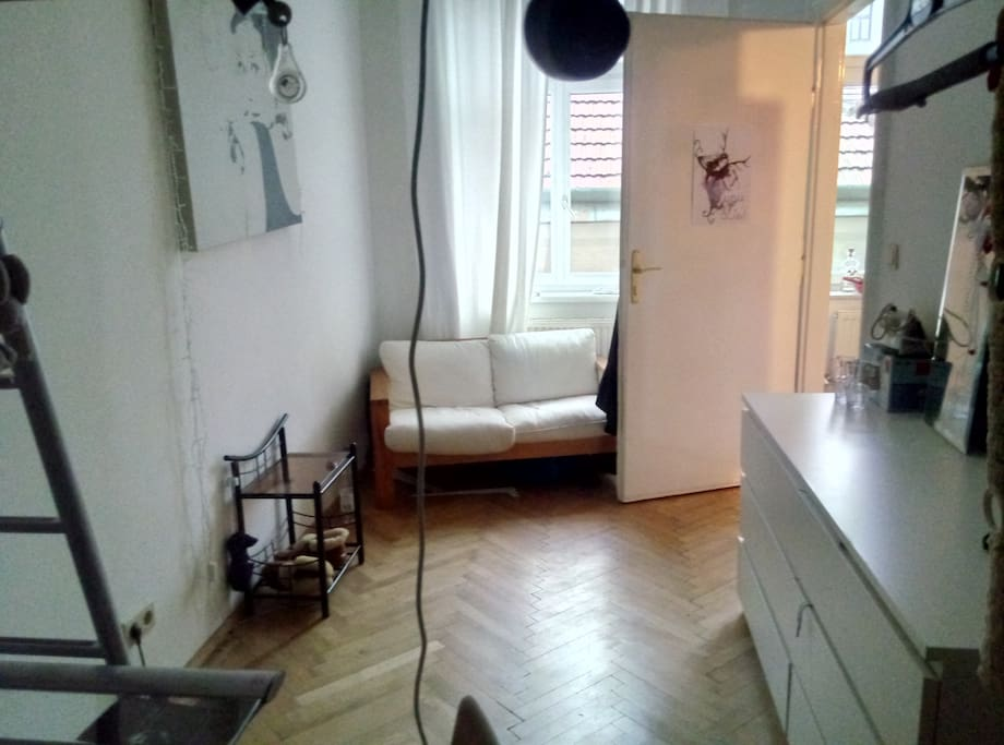 room has 12 square meters, and a white dresser