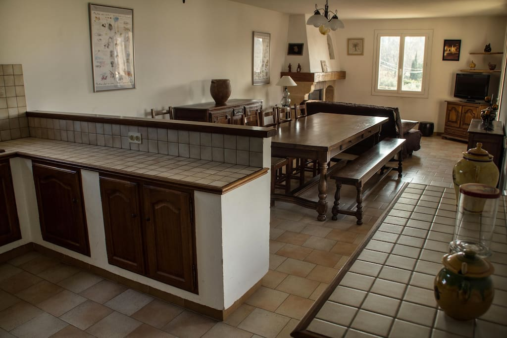 Bel espace cuisine américaine, salle à manger et salon.