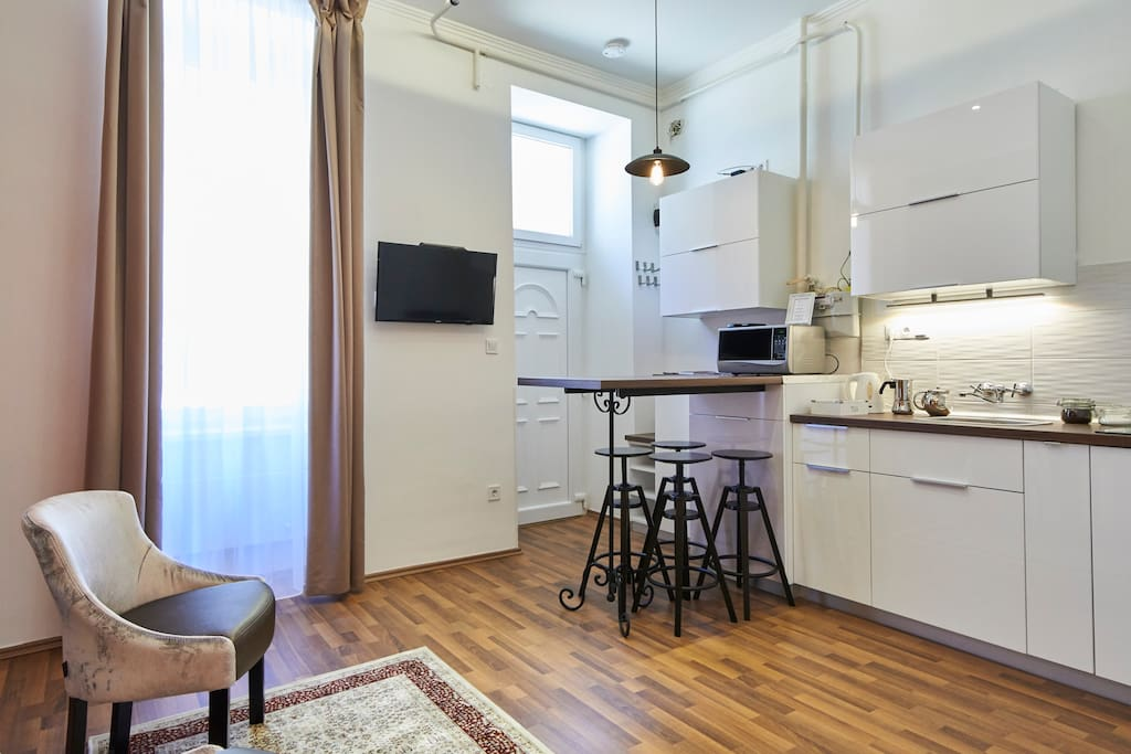 The apartment is 30 m2: bedroom, living room/kitchen, bathroom. Perfect for couples, families or business travelers.