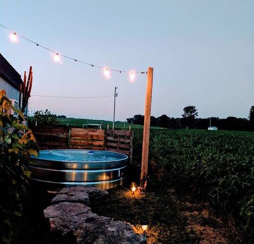 Private Stock Tank Pool--- Cool off in this little gem, its located directly behind your retreat with a walk way from the outdoor shower attached to your house!
