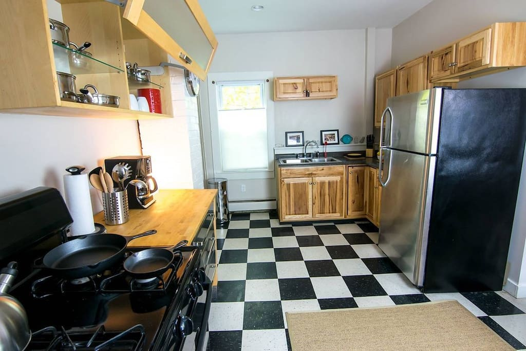 Our bright & inspiring kitchen has a gas stove and all the kitchen basics you could need for preparing light meals during your stay. Local coffee & tea is provided and photos on the walls are from markets explored on our travels.