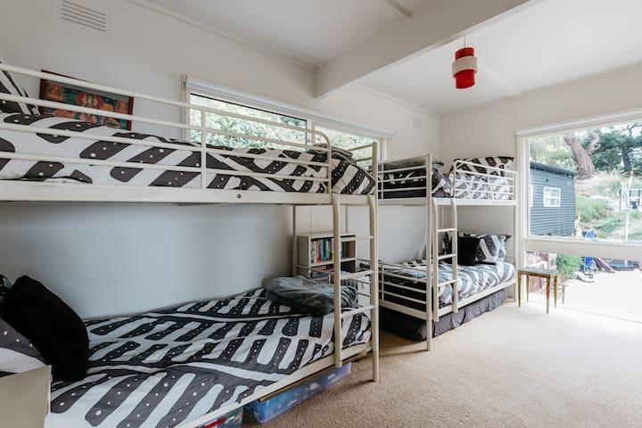 The bunk room sleeps four