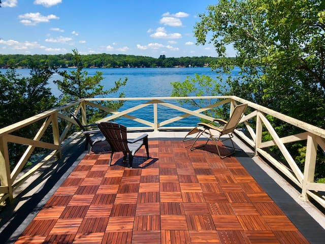 Rooftop deck above the boathouse. View is to the west, a great spot to watch the sun set.
