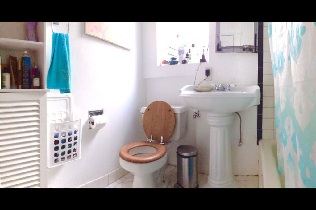 There is storage space in the bathroom to store shower and hygiene related items.