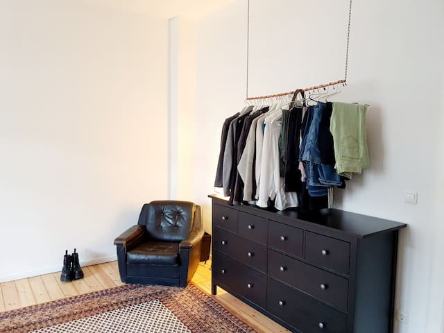 Big student room in shared apartment.