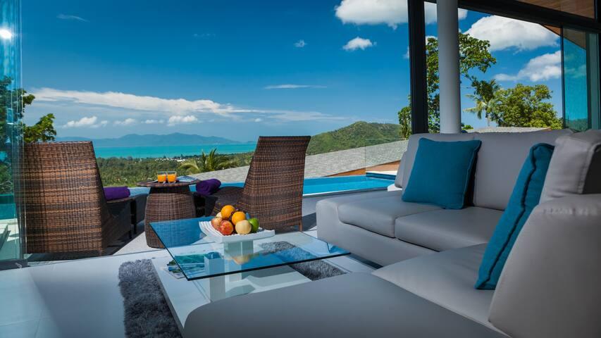 Sea View 4-BR Pool & Cinema Villa for Rent, Samui - เกาะสมุย - วิลล่า