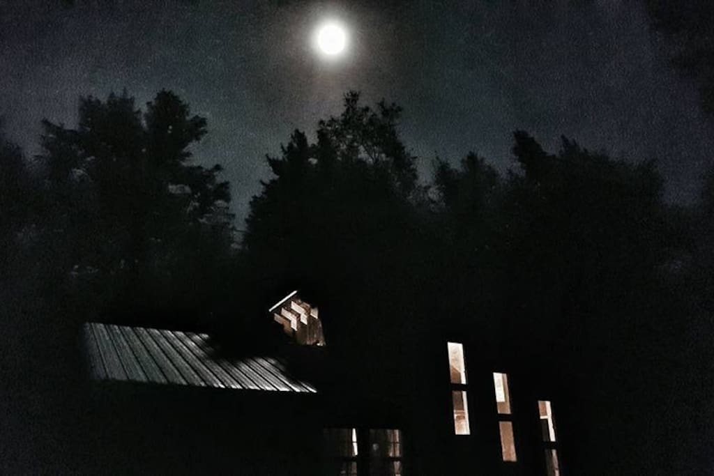 The full moon over the cabin