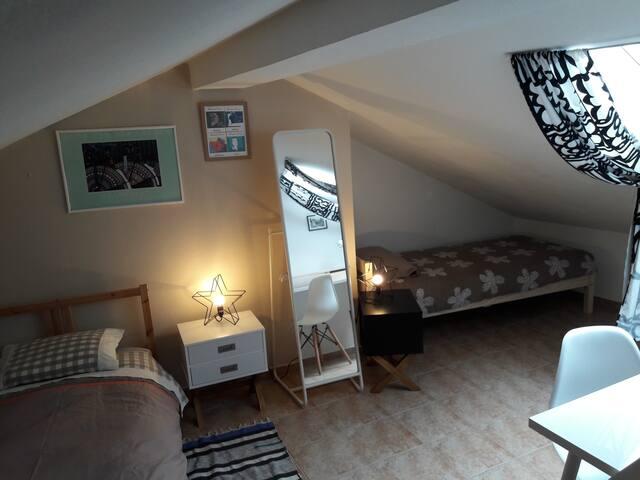 Chambre avec 2 lits single en sous pente