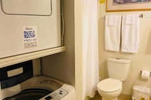 Master bathroom has washing machine and dryer (laundry supplies provided)