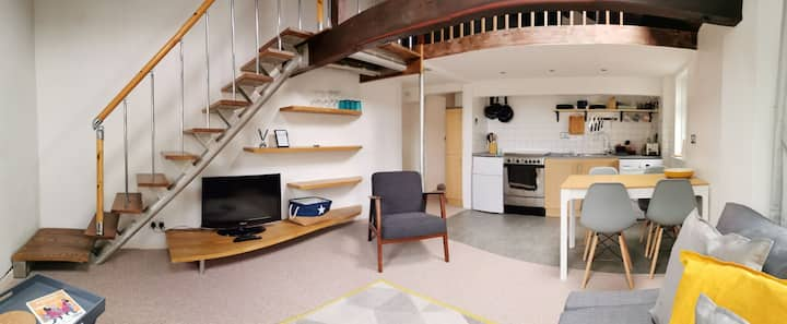 Loft style apartment and parking for small car!!