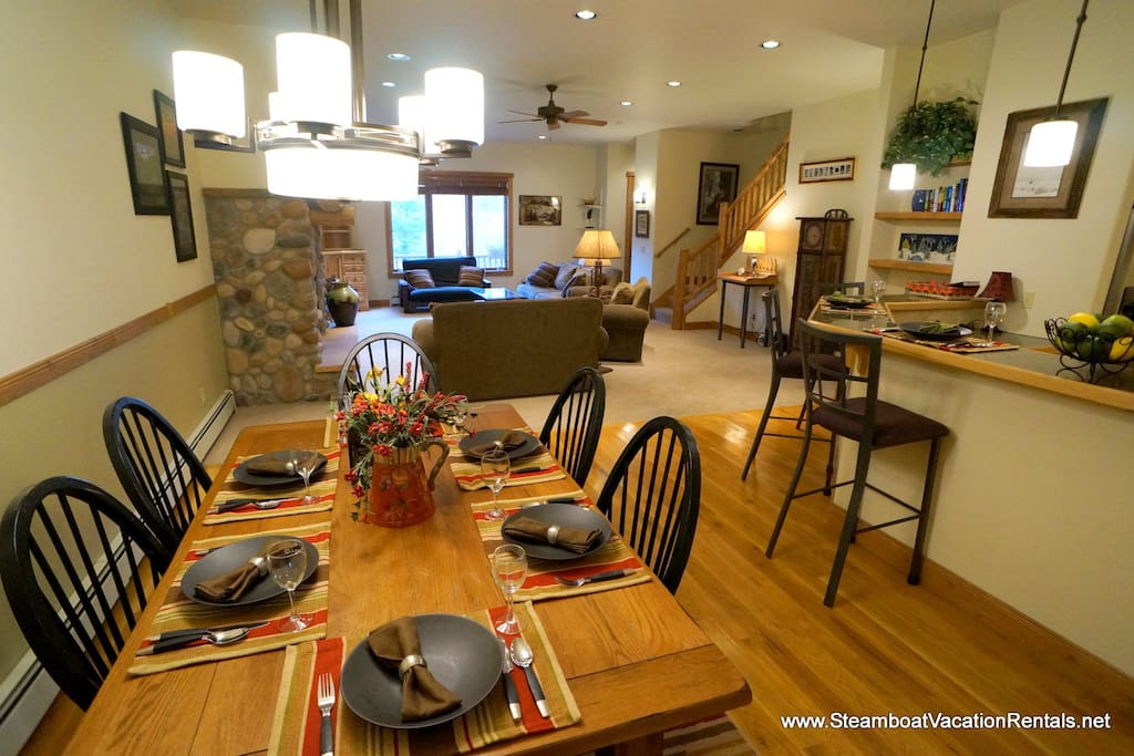 Dining area opens to kitchen and living area