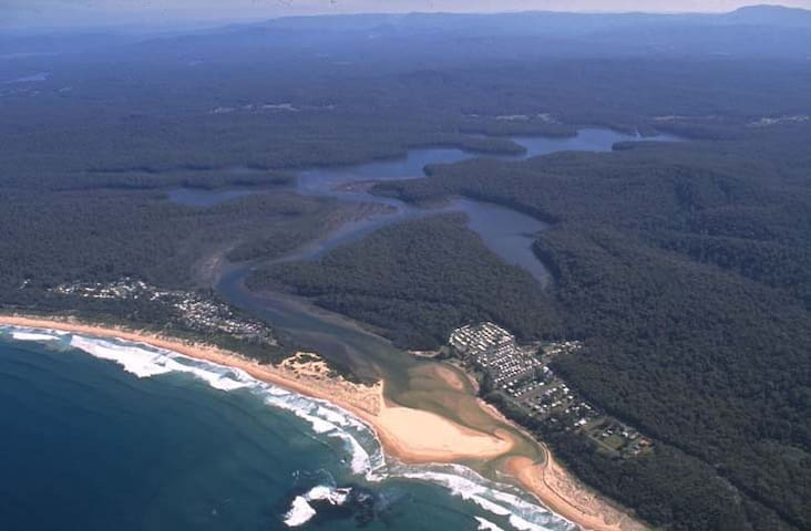 Aerial view of Durras North and Durras Lake