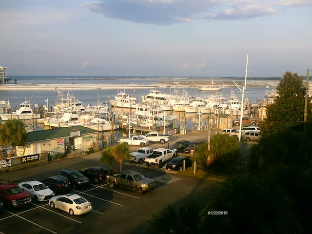 view of the Harbor/Inlet/Gulf of Mexico from our building