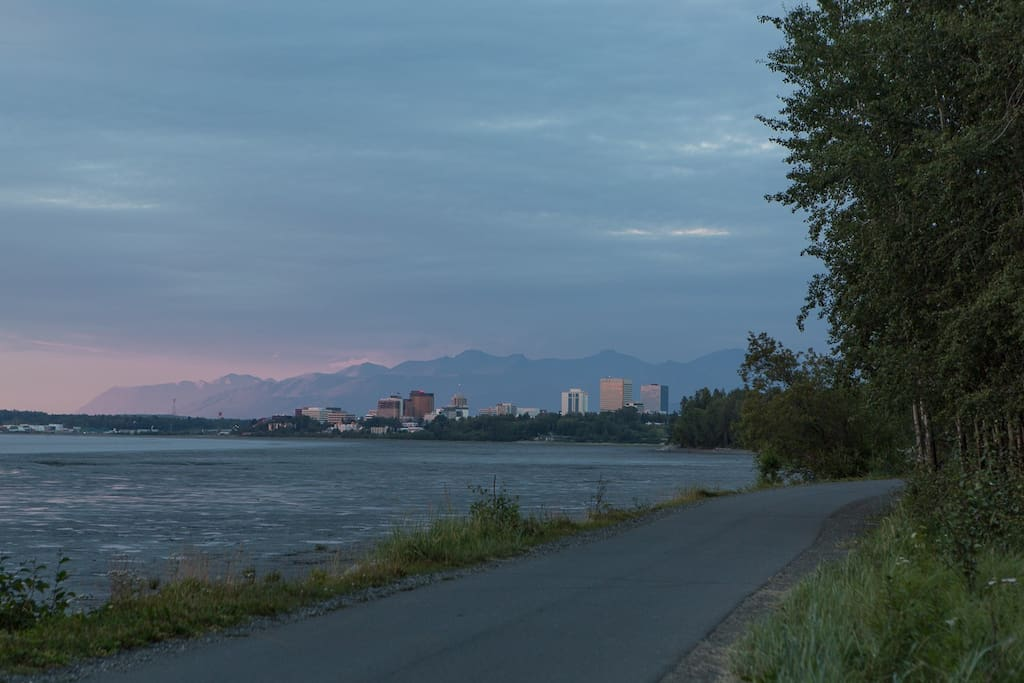 The beautiful 11-mile multi-use Coastal Trail. This view is only a few blocks from our place. The trail connects directly to downtown Anchorage for a lovely summer walk (watch for moose)!