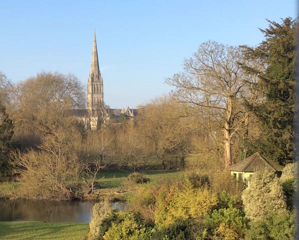 Salisbury Cathedral view and riverside garden