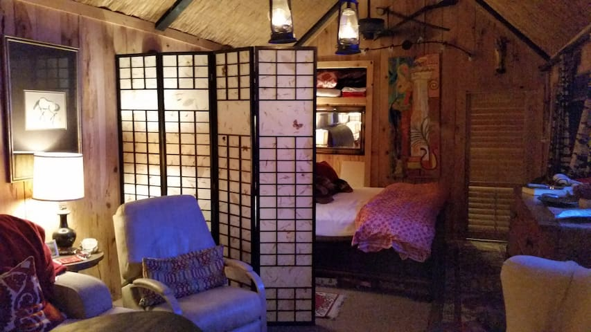 Interior view, comfortable rocker recliner next to queen sleeper sofa.Main  Bed is a wonderfully comfortable  King mattress.