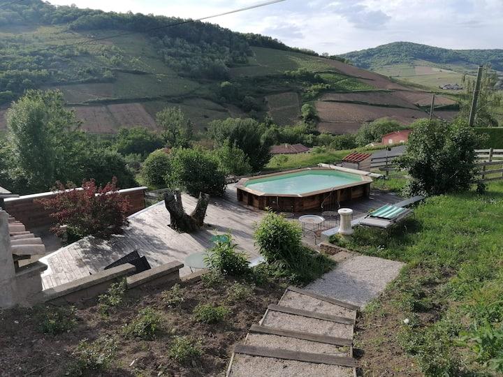 Maison avec terrasse & piscine au cœur du vignoble