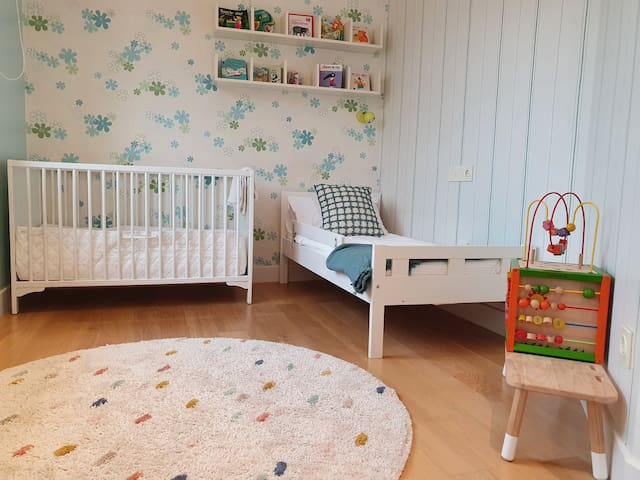 Bedroom 5 Children's bed 60 x 170 with safety barrier Crib 60 x 120