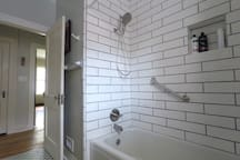 Newly tiled shower walls.