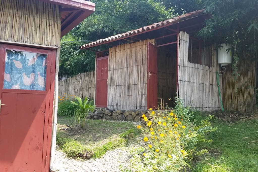Shower and toilet beside the bamboo house