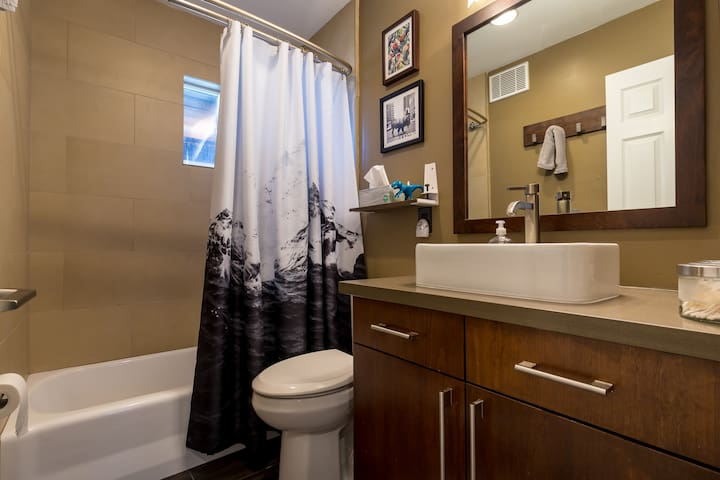 The recently remodeled bathroom is a great place to get ready before walking downtown.