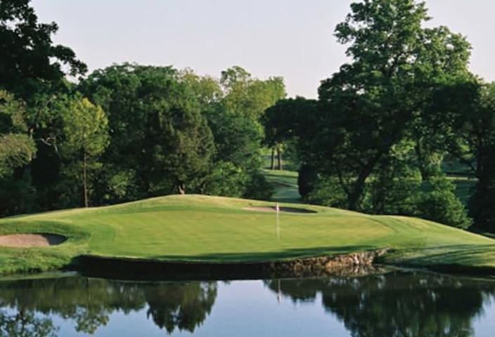 The gorgeous golf course starts steps away.