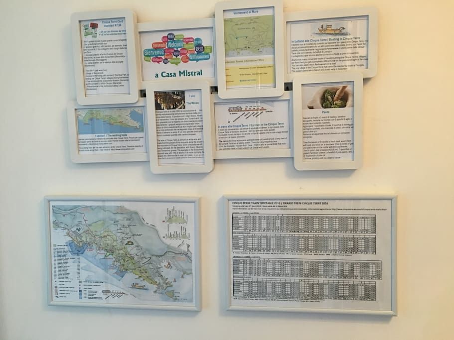 We like to welcome our guests with a mosaic of useful information about Monterosso and the Cinque Terre. Feel free to consult the train schedule, the map, some historical facts and much more.