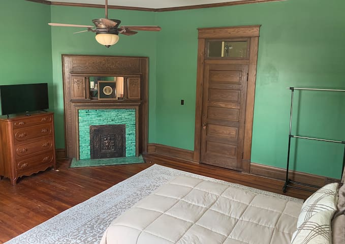 The Green Room in One of a Kind Historic Mansion