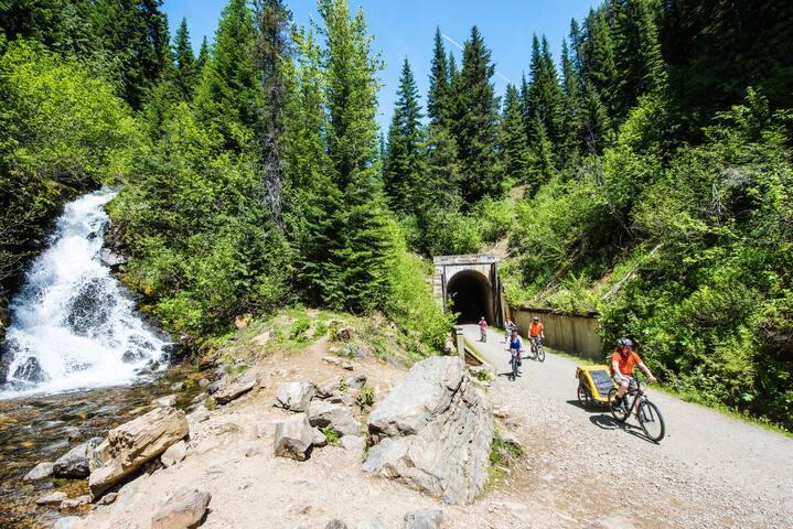 Route of the Hiawatha scenic bike trail.  http://www.ridethehiawatha.com/