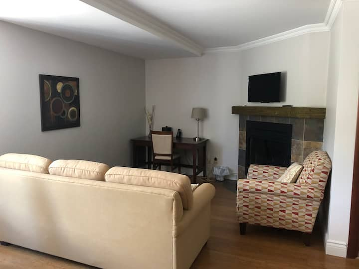 Renovated condo with fireplace near ski hills