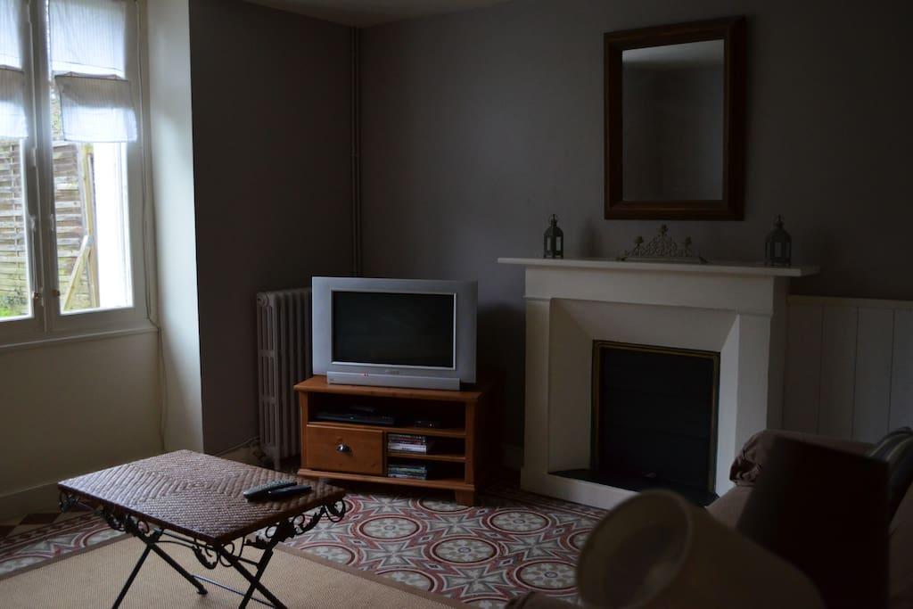 Salon avec deux canapés dont un clic-clac, téléviseur, lecteur DVD et mini chaine hifi.