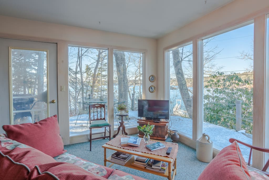 Enjoy a movie, or take in scenic harbor views from the floor-to-ceiling windows