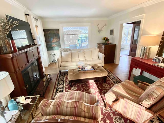 The formal living room with an internet ready TV